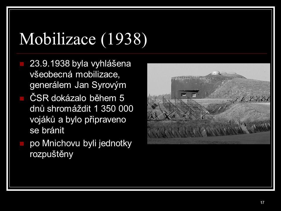 Mobilizace (1938) 23.9.1938 byla vyhlášena všeobecná mobilizace, generálem Jan Syrovým.