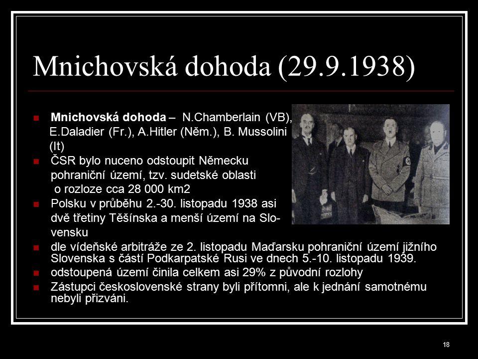 Mnichovská dohoda (29.9.1938) Mnichovská dohoda – N.Chamberlain (VB),