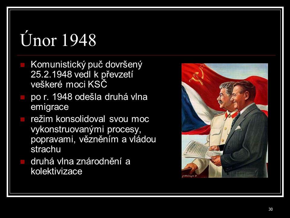 Únor 1948 Komunistický puč dovršený 25.2.1948 vedl k převzetí veškeré moci KSČ. po r. 1948 odešla druhá vlna emigrace.