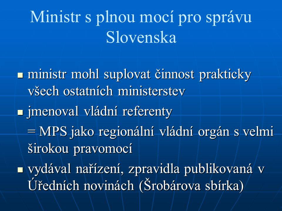 Ministr s plnou mocí pro správu Slovenska