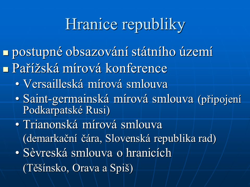 Hranice republiky postupné obsazování státního území