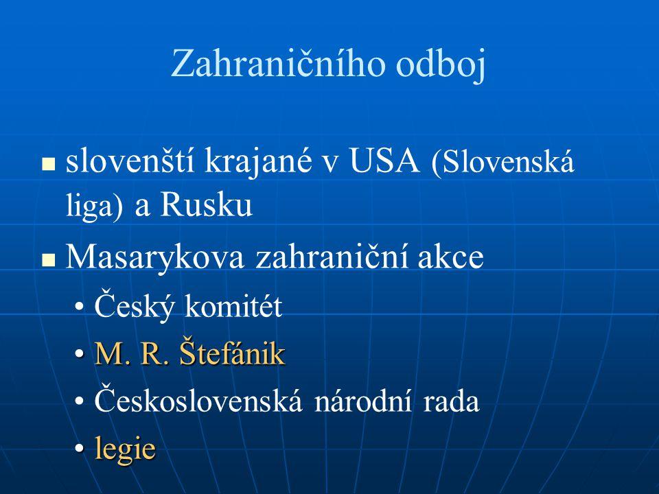 Zahraničního odboj slovenští krajané v USA (Slovenská liga) a Rusku