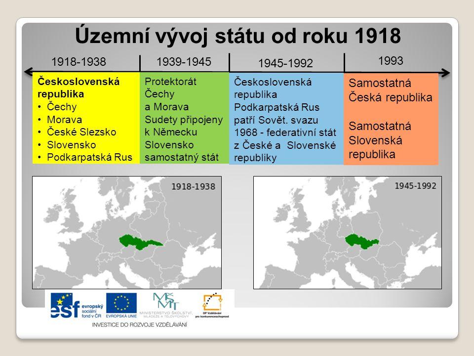 Územní vývoj státu od roku 1918