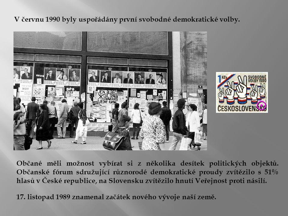 V červnu 1990 byly uspořádány první svobodné demokratické volby.