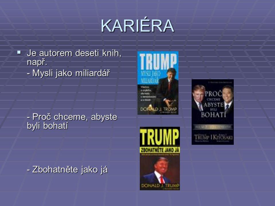KARIÉRA Je autorem deseti knih, např. - Mysli jako miliardář