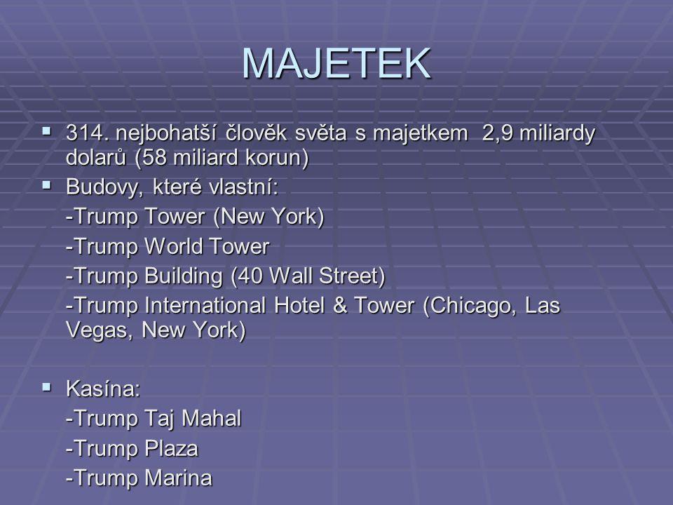 MAJETEK 314. nejbohatší člověk světa s majetkem 2,9 miliardy dolarů (58 miliard korun) Budovy, které vlastní: