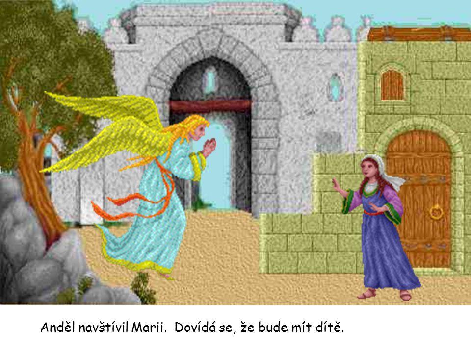 Anděl navštívil Marii. Dovídá se, že bude mít dítě.
