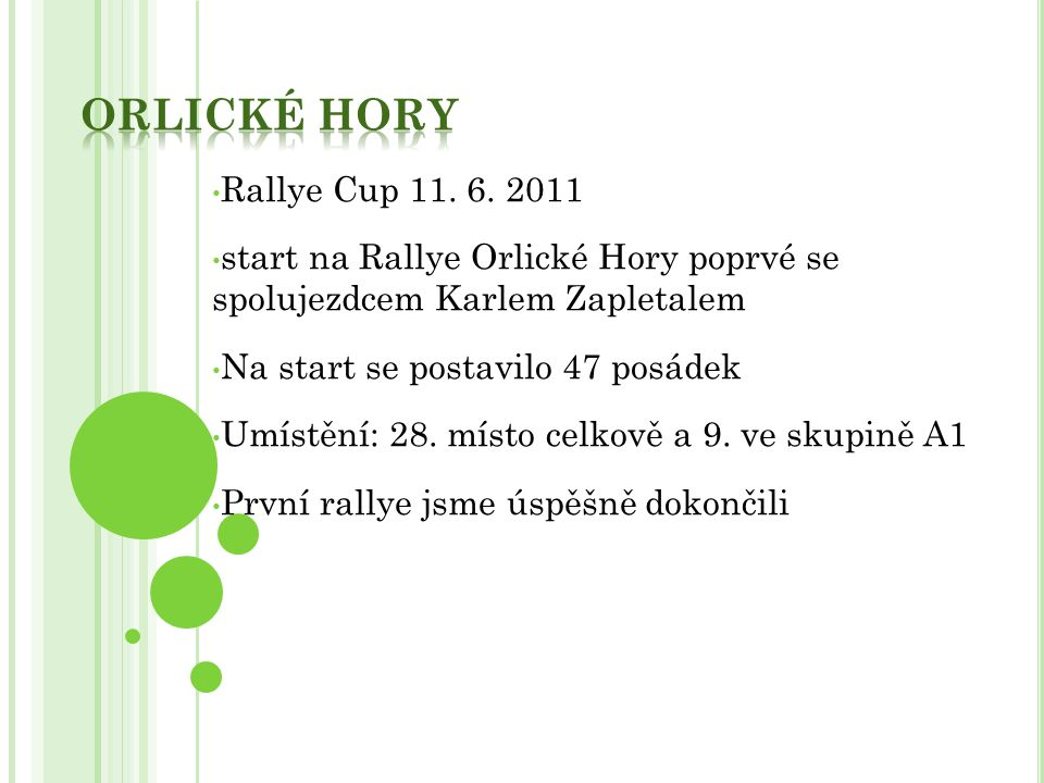 Orlické hory Rallye Cup 11. 6. 2011