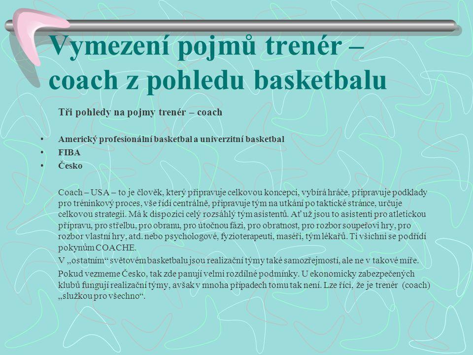 Vymezení pojmů trenér – coach z pohledu basketbalu