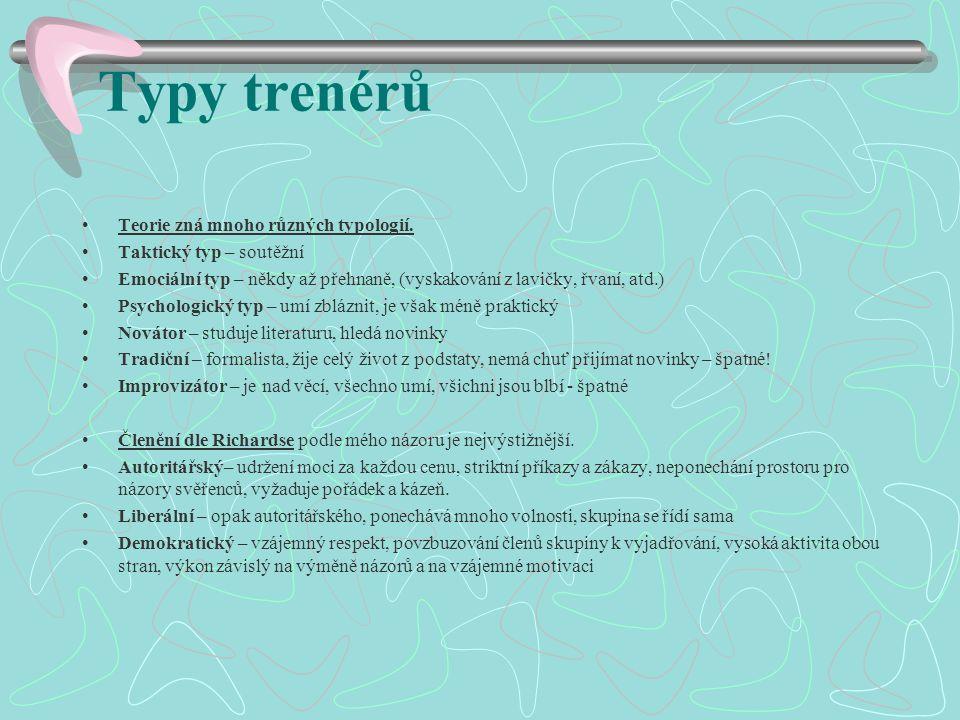 Typy trenérů Teorie zná mnoho různých typologií.