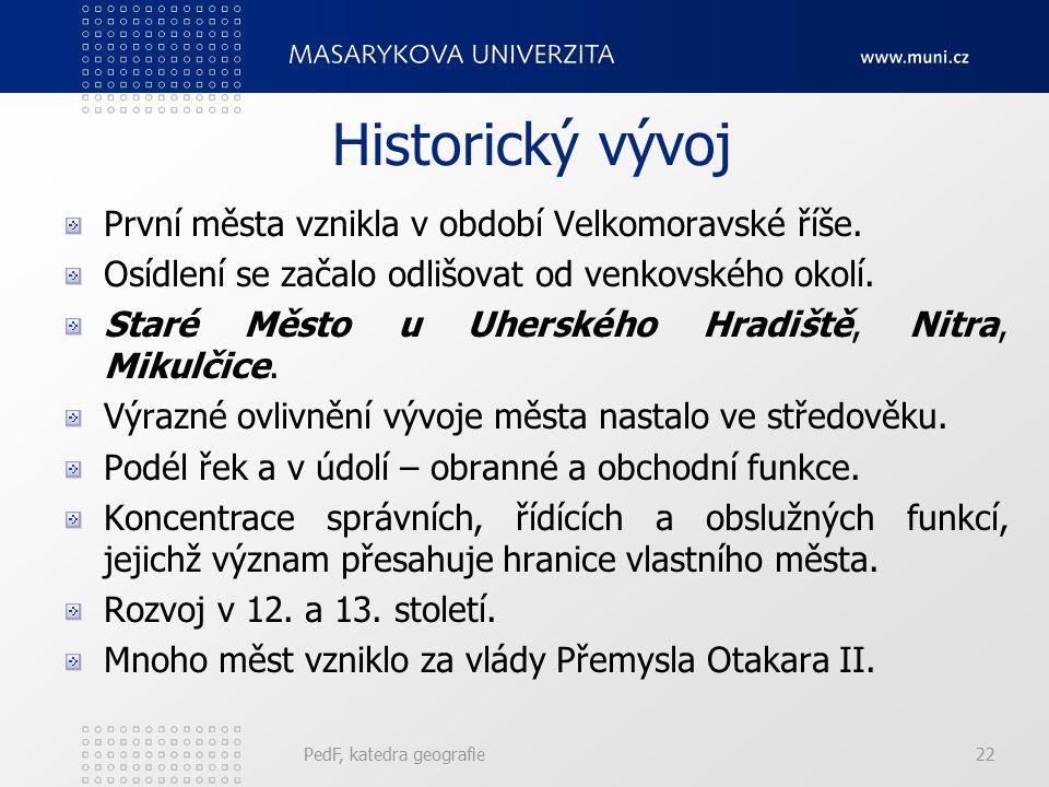 Historický vývoj První města vznikla v období Velkomoravské říše.
