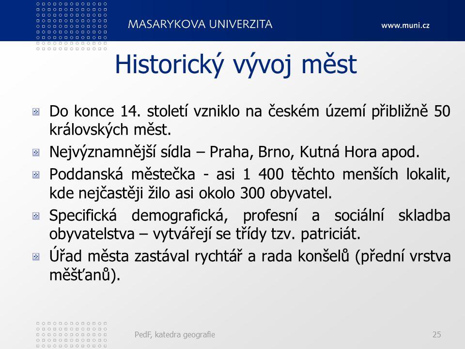Historický vývoj měst Do konce 14. století vzniklo na českém území přibližně 50 královských měst.