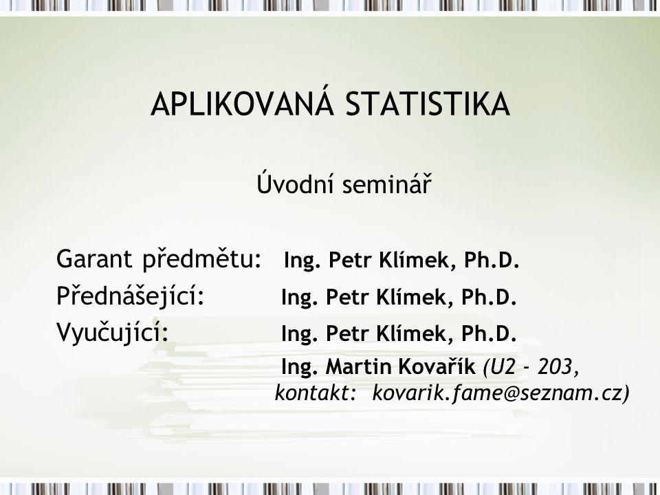 APLIKOVANÁ STATISTIKA