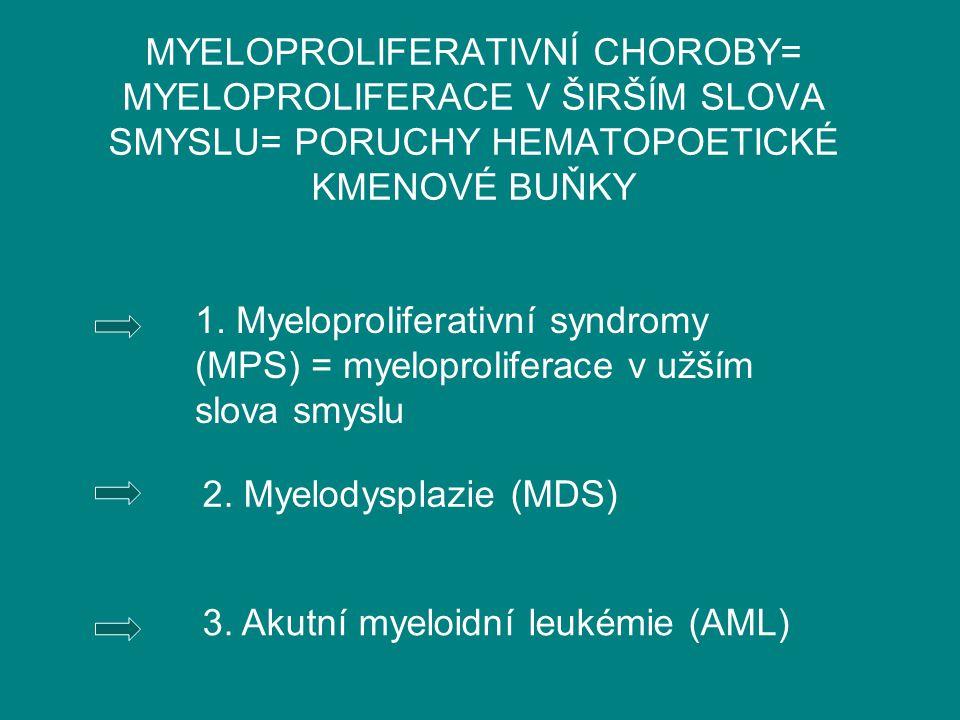 MYELOPROLIFERATIVNÍ CHOROBY= MYELOPROLIFERACE V ŠIRŠÍM SLOVA SMYSLU= PORUCHY HEMATOPOETICKÉ KMENOVÉ BUŇKY