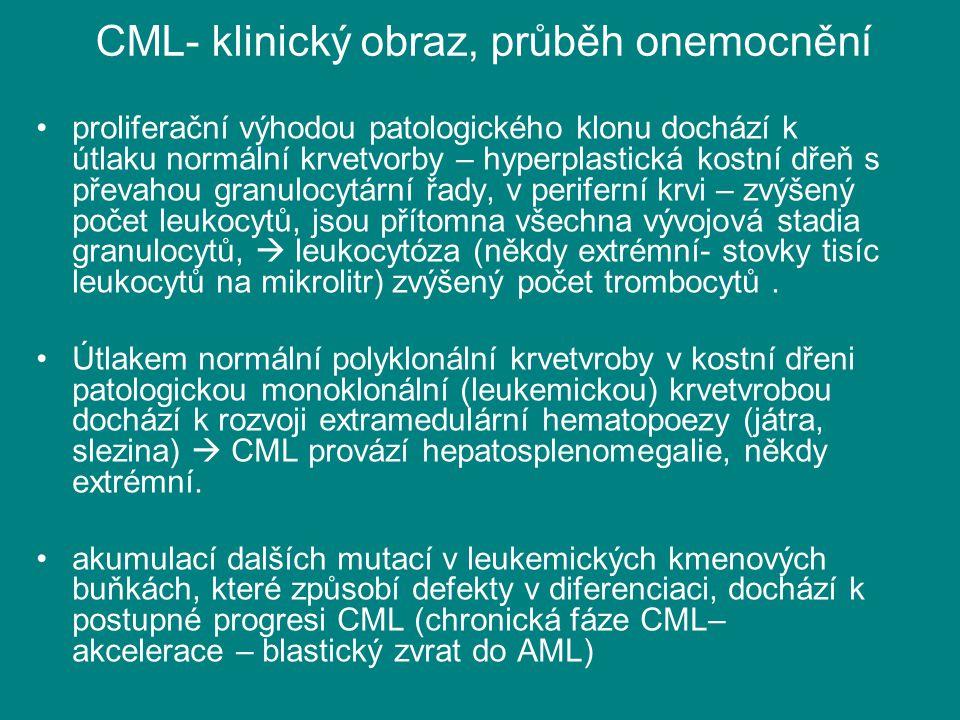 CML- klinický obraz, průběh onemocnění