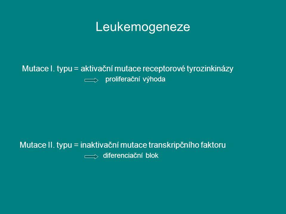 Leukemogeneze Mutace I. typu = aktivační mutace receptorové tyrozinkinázy. proliferační výhoda.