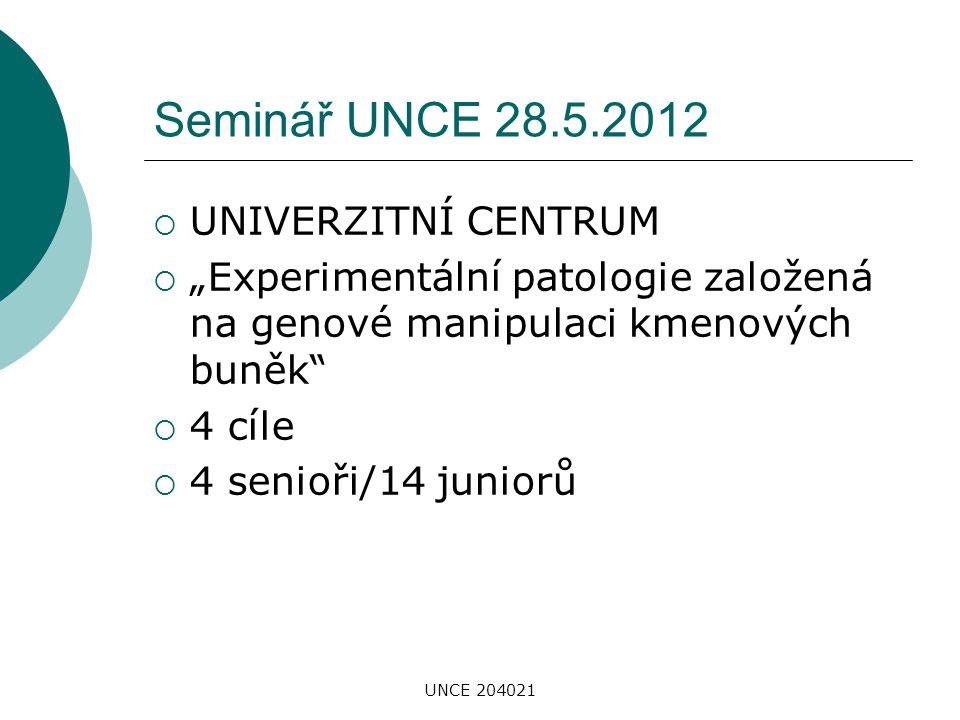 Seminář UNCE 28.5.2012 UNIVERZITNÍ CENTRUM