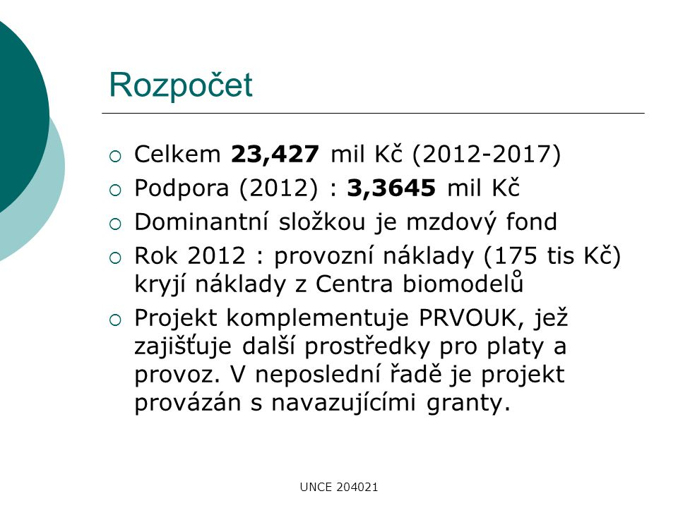 Rozpočet Celkem 23,427 mil Kč (2012-2017)