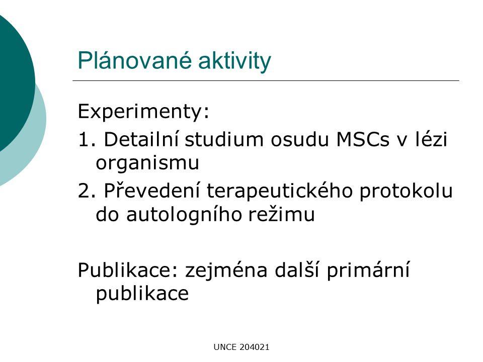 Plánované aktivity Experimenty: