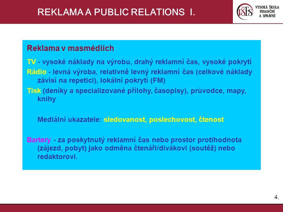 REKLAMA A PUBLIC RELATIONS I.