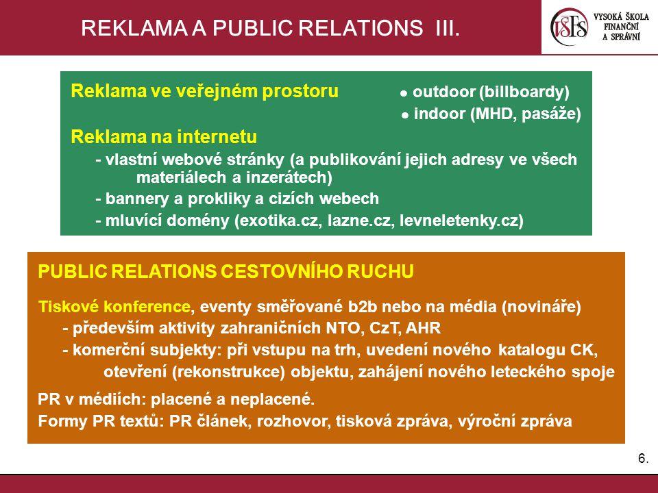 REKLAMA A PUBLIC RELATIONS III.