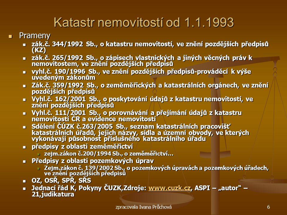 Katastr nemovitostí od 1.1.1993