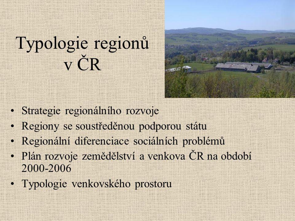 Typologie regionů v ČR Strategie regionálního rozvoje