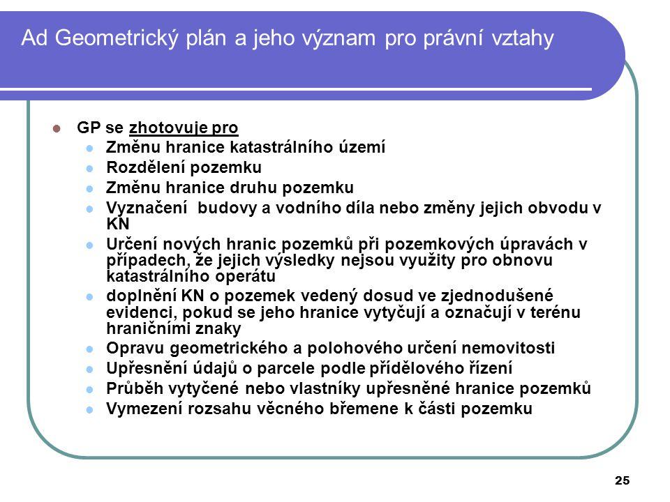 Ad Geometrický plán a jeho význam pro právní vztahy
