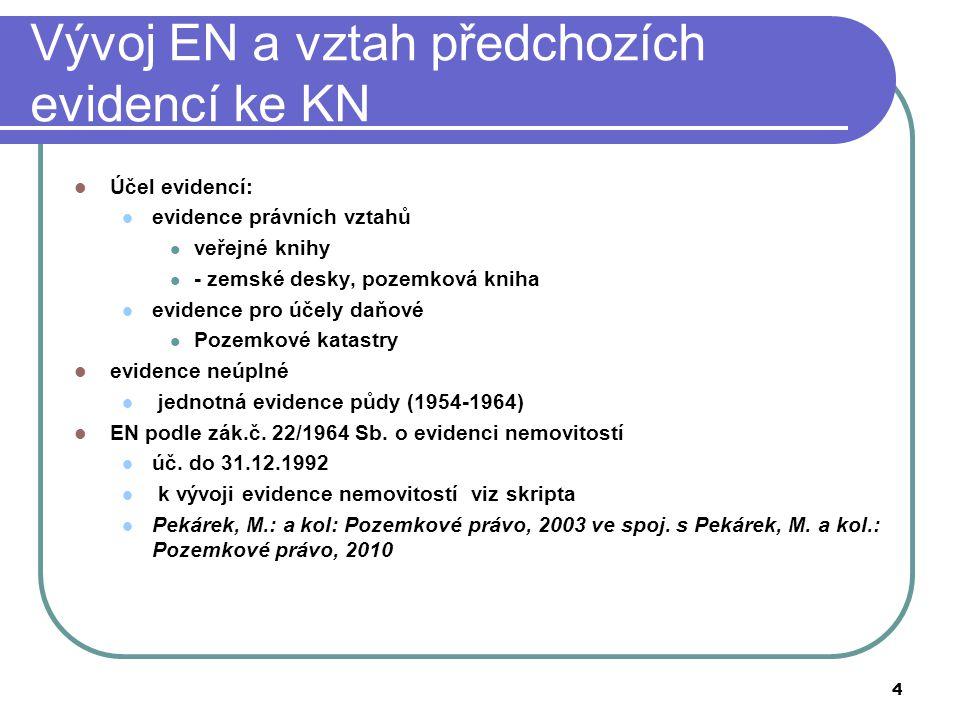 Vývoj EN a vztah předchozích evidencí ke KN