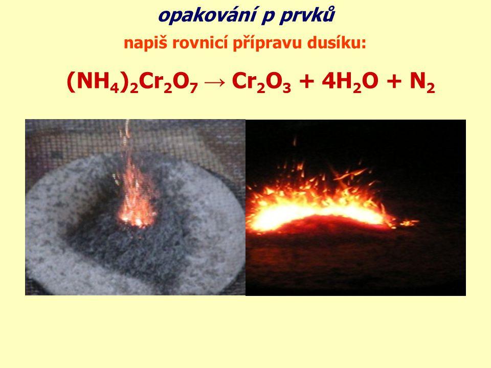 (NH4)2Cr2O7 → Cr2O3 + 4H2O + N2 opakování p prvků