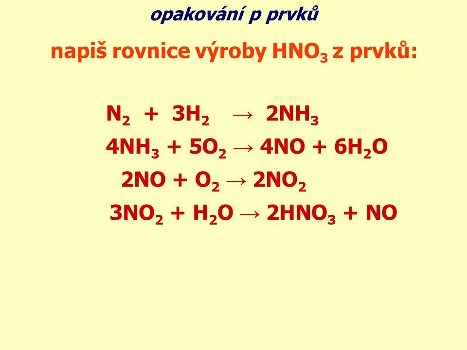 napiš rovnice výroby HNO3 z prvků: