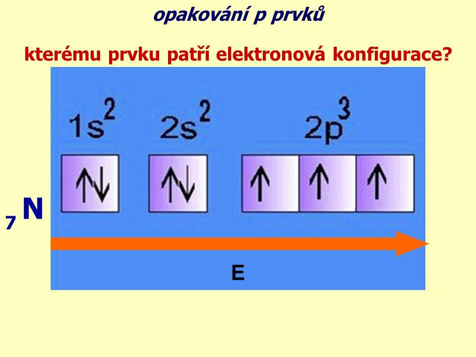 kterému prvku patří elektronová konfigurace