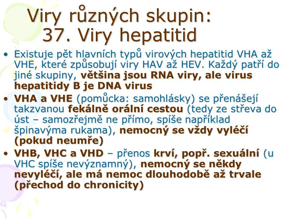 Viry různých skupin: 37. Viry hepatitid