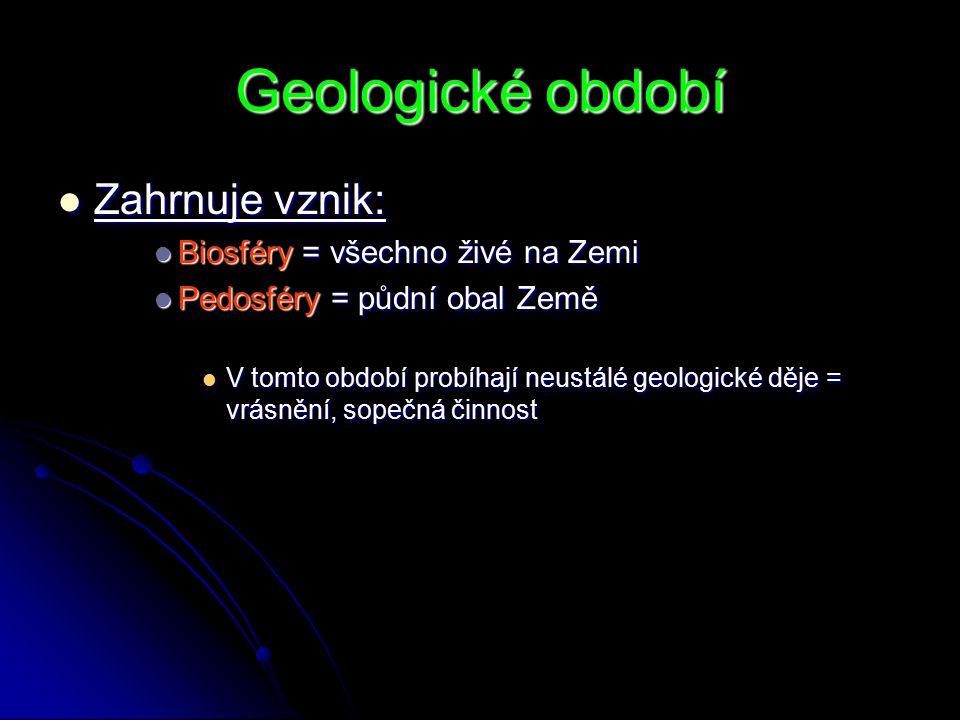 Geologické období Zahrnuje vznik: Biosféry = všechno živé na Zemi