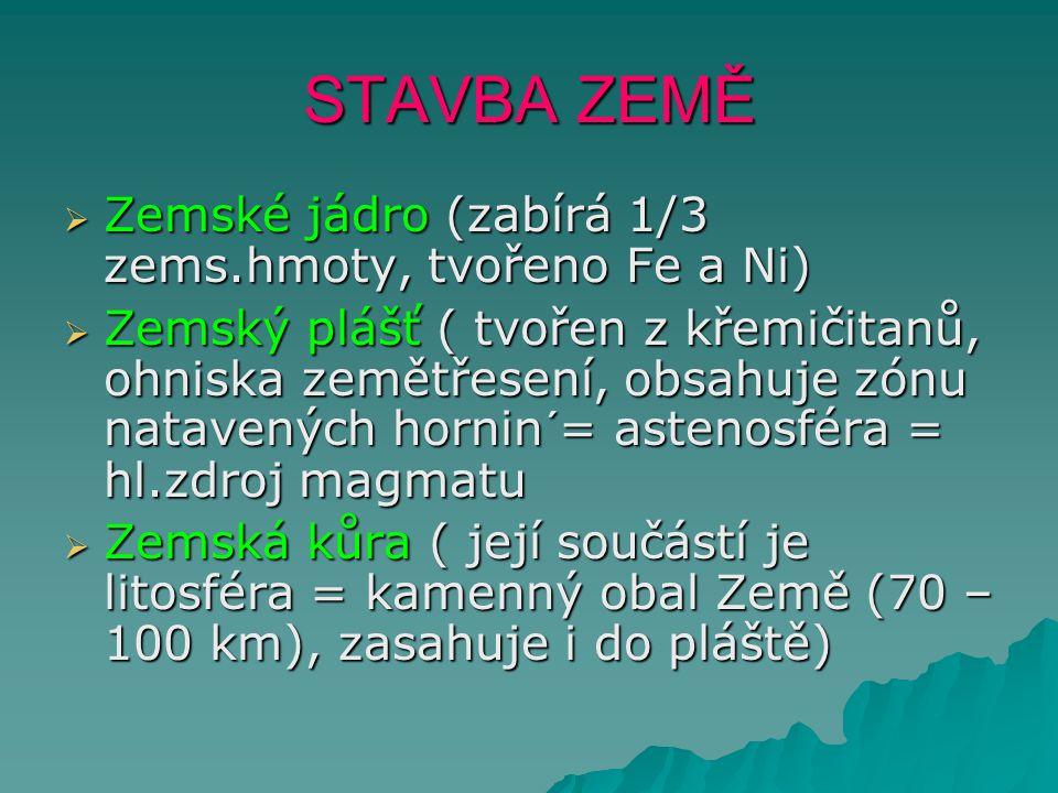 STAVBA ZEMĚ Zemské jádro (zabírá 1/3 zems.hmoty, tvořeno Fe a Ni)