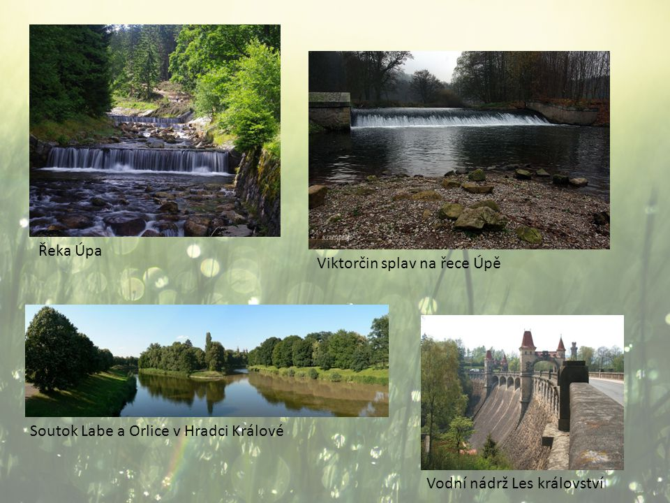 Řeka Úpa Viktorčin splav na řece Úpě. Soutok Labe a Orlice v Hradci Králové.