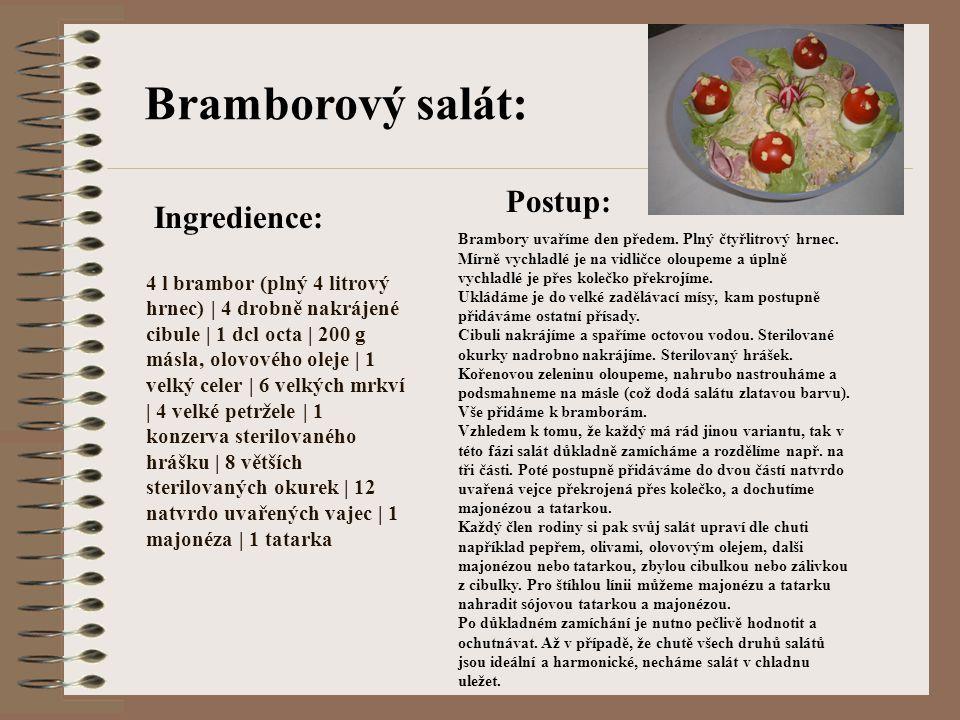 Bramborový salát: Postup: Ingredience: