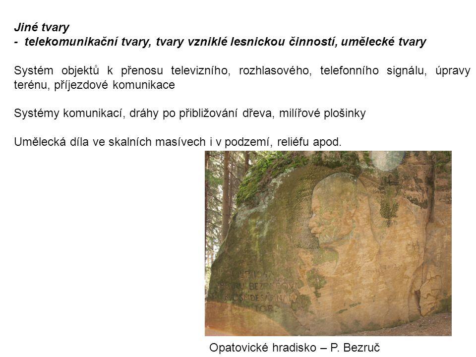Jiné tvary - telekomunikační tvary, tvary vzniklé lesnickou činností, umělecké tvary.