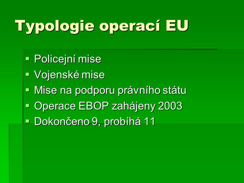 Typologie operací EU Policejní mise Vojenské mise