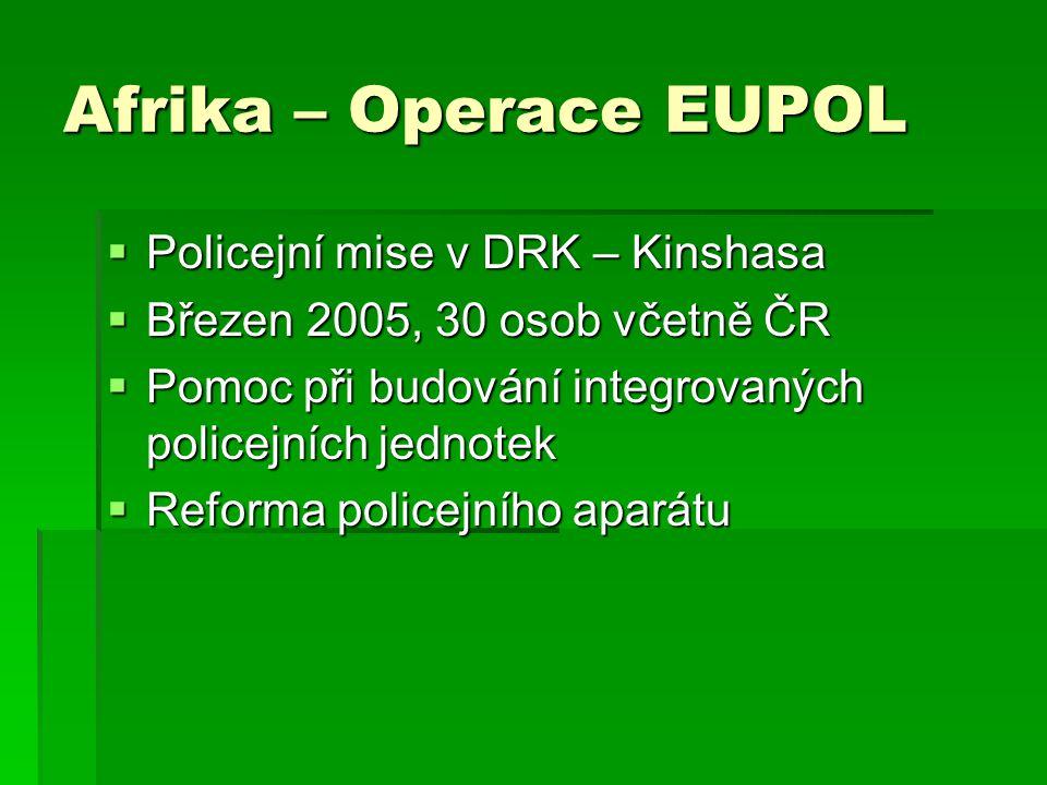 Afrika – Operace EUPOL Policejní mise v DRK – Kinshasa