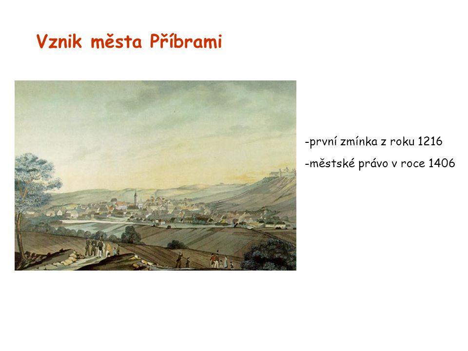 Vznik města Příbrami -první zmínka z roku 1216