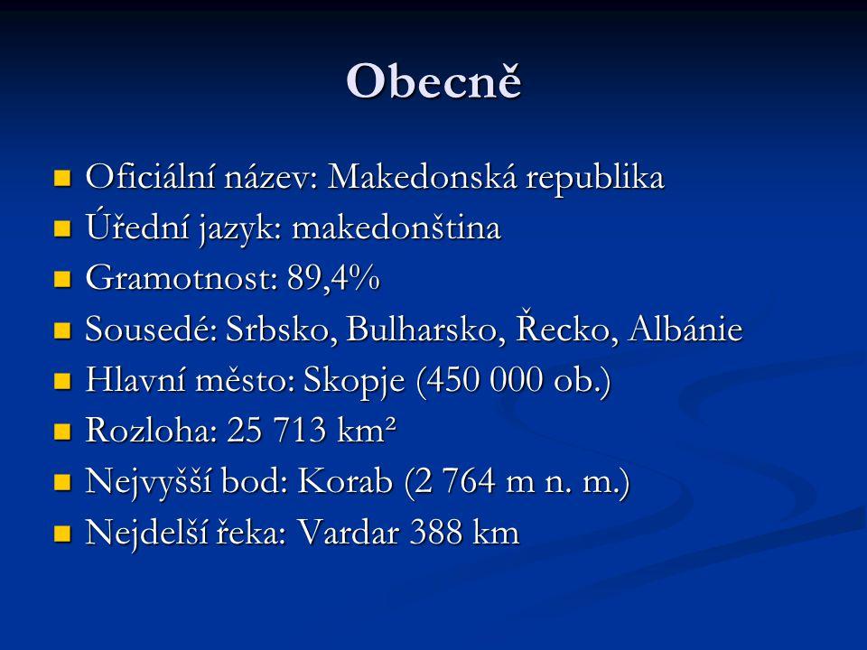 Obecně Oficiální název: Makedonská republika