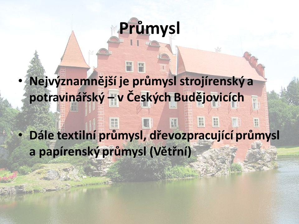 Průmysl Nejvýznamnější je průmysl strojírenský a potravinářský – v Českých Budějovicích.