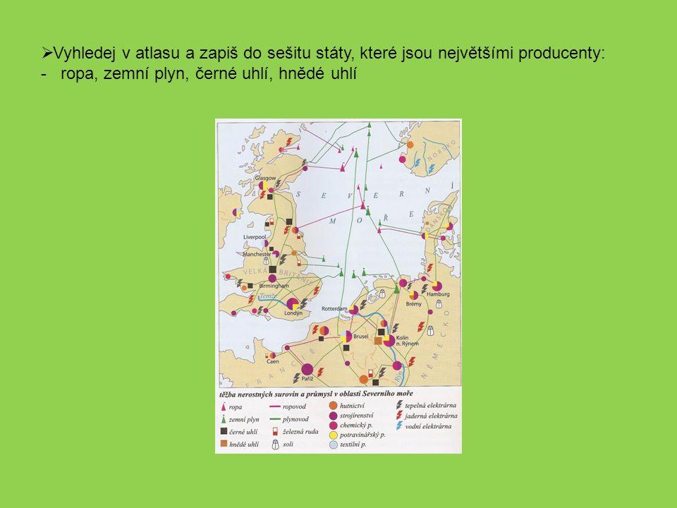 Vyhledej v atlasu a zapiš do sešitu státy, které jsou největšími producenty: - ropa, zemní plyn, černé uhlí, hnědé uhlí
