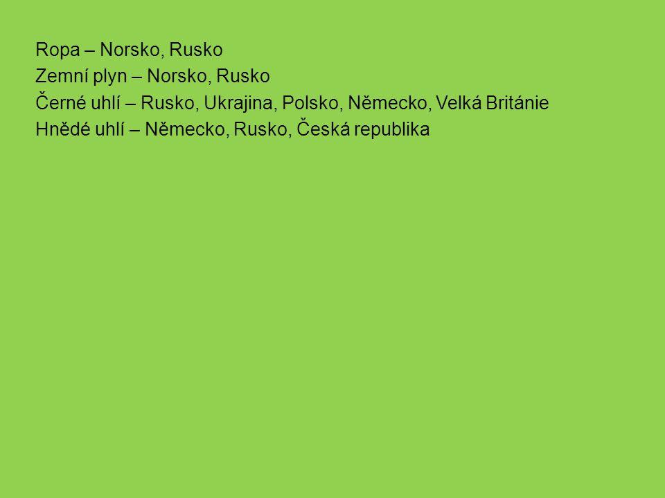 Ropa – Norsko, Rusko Zemní plyn – Norsko, Rusko. Černé uhlí – Rusko, Ukrajina, Polsko, Německo, Velká Británie.