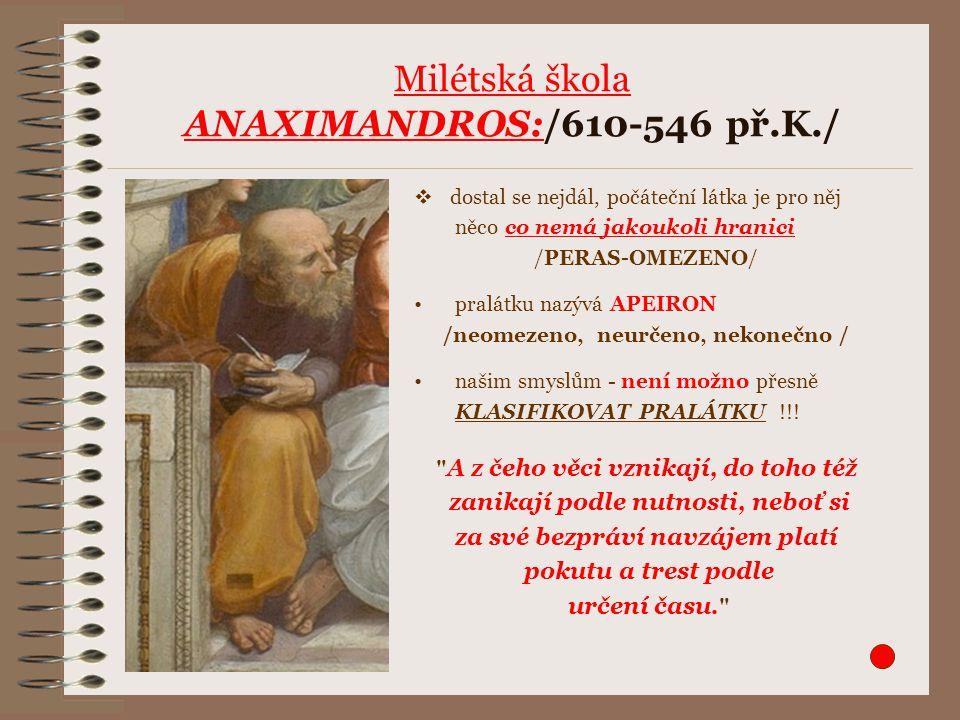 Milétská škola ANAXIMANDROS:/610-546 př.K./