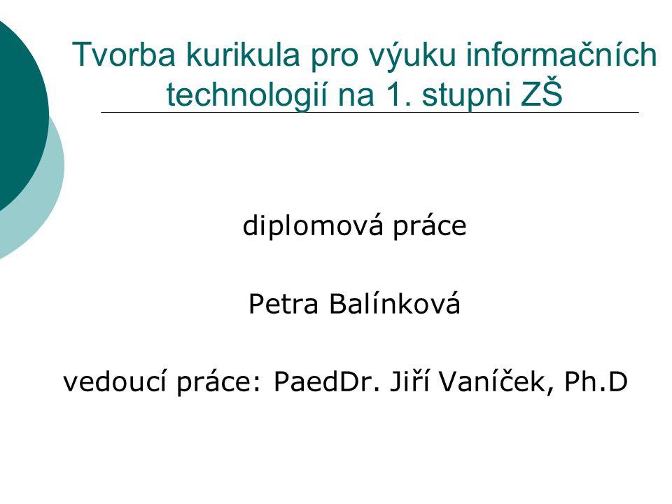Tvorba kurikula pro výuku informačních technologií na 1. stupni ZŠ