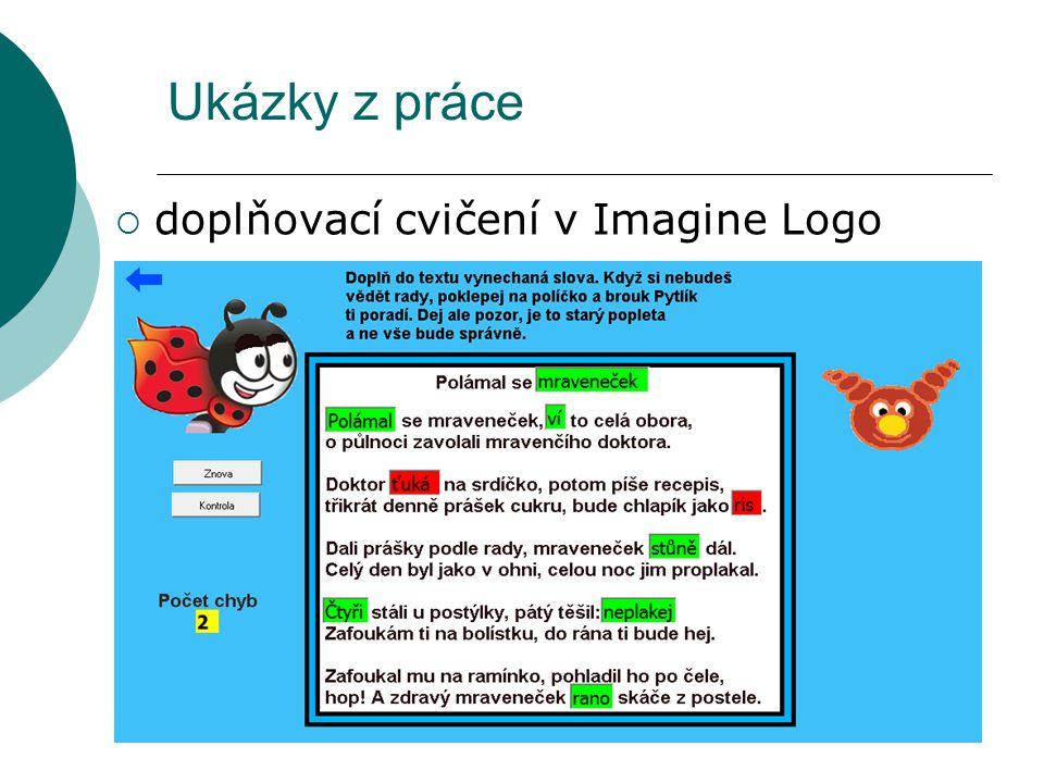 Ukázky z práce doplňovací cvičení v Imagine Logo