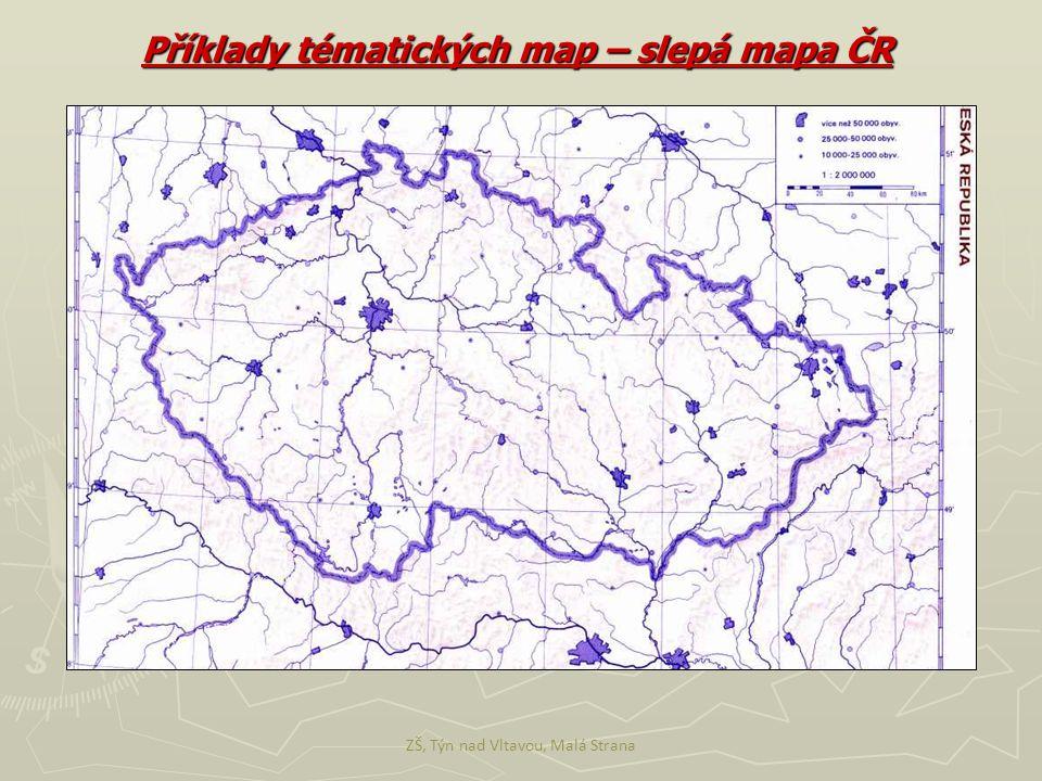 Příklady tématických map – slepá mapa ČR