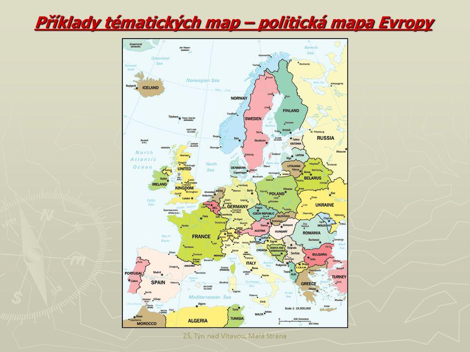 Příklady tématických map – politická mapa Evropy